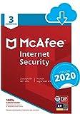 McAfee Internet Security 2020 | 3 Dispositivo | 12 Meses | PC/Mac/Android/Smartphones | Código de activación enviado por email