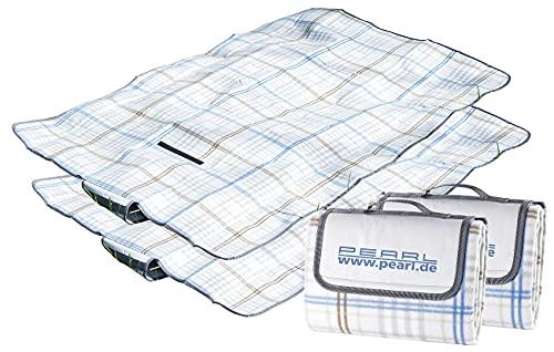 PEARL Fleec-Picknickdecke: 2er-Set Fleece-Picknick-Decken mit wasserabweisender Unterseite (Wasserfeste Picknickdecke)