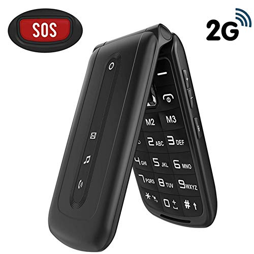 Ushining Flip Phone Unlocked SOS Button Dual Card Dual Standby 2G T-Mobile Flip Phone Large Button Large Volume Easy to Use Senior Phone (Black)
