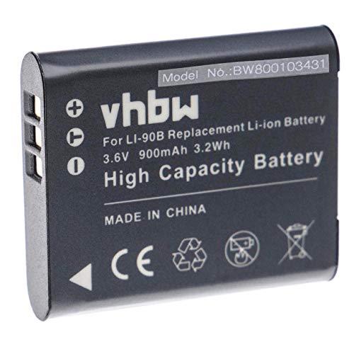 vhbw Li-Ion batteria 900mAh (3.6V) per fotocamera digitale DSLR Olympus Tough TG-Tracker sostituisce Li-90B, Li-92B