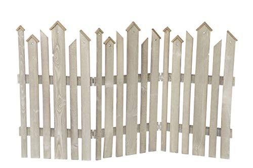 ETC dekorativer braungrauer Dekozaun Holz-Zaun Jäger-Zaun 3 Elemente zum klappen ca. 120 cm lang x 75 cm hoch