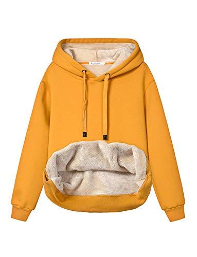 Haellun Womens Casual Winter Warm Fleece Sherpa Lined Pullover Hooded Sweatshirt (Yellow, X-Large)