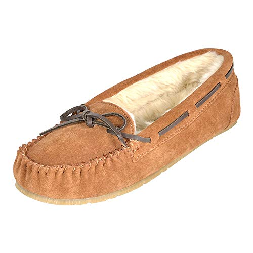 DREAM PAIRS Women's Shozie-01 Tan Faux Fur Slippers Loafers Flats Shoes Size 7.5-8 M US
