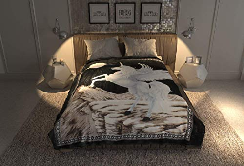 SOLARON Unicorn Queen Bed Blanket, Black