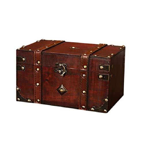 ACAMPTAR Cofre del Tesoro Retro Caja de Almacenamiento de Madera Vintage Organizador de JoyeríA de Estilo Antiguo para Caja de JoyeríA Caja de Baratijas Grande