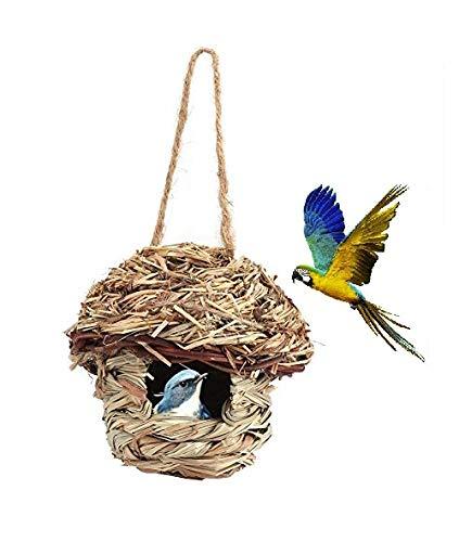 HEEPDD Vogel Haus Nest Käfige, handgewebte Stroh hängende Vogelhaus Nest Vogel Haus Outdoor Yard Garten hängen Dekor für Papagei Kanarien Vogel andere Vögel (S)
