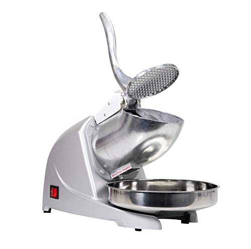 WYZworks Silver Compact Home Kitchen Commercial Blade Fast Ice Shaver Crusher Shaved Ice Maker 1400 RPM 110V
