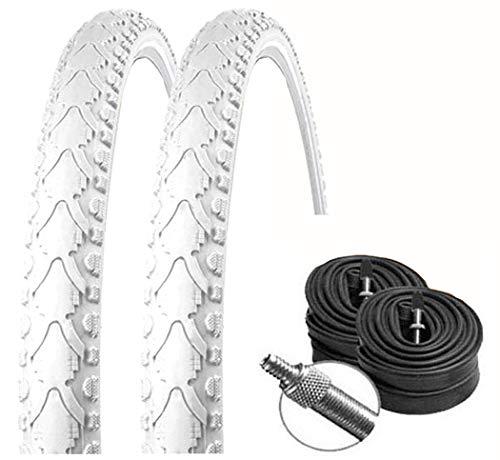KENDA Set: 2 x K935 Weiss farbige Fahrradreifen 40-622 / 700x38C + Conti SCHLÄUCHE Dunlopventil