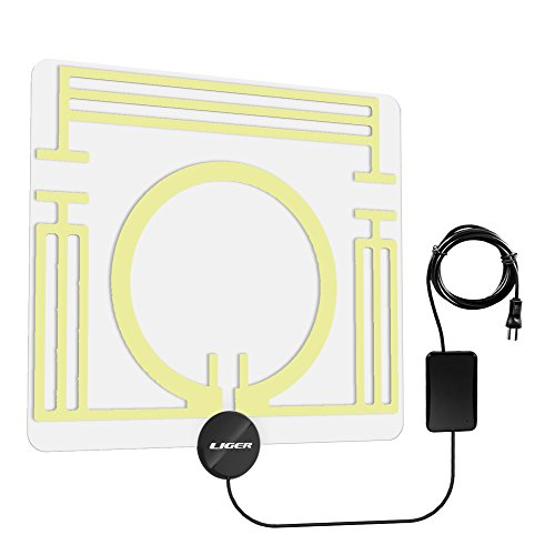 Amplified HDTV Antenna - 65 Miles Range, Liger Ultra-Thin HDTV Antenna with Built In Amplifier Signal Booster for the Highest Performance and the Longest Reception Range