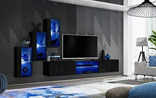Moderne Wohnwand Aldona mit Led Beleuchtung Hochglanz Viele Farben Anbauwand Schrankwand 21 (Schwarz)