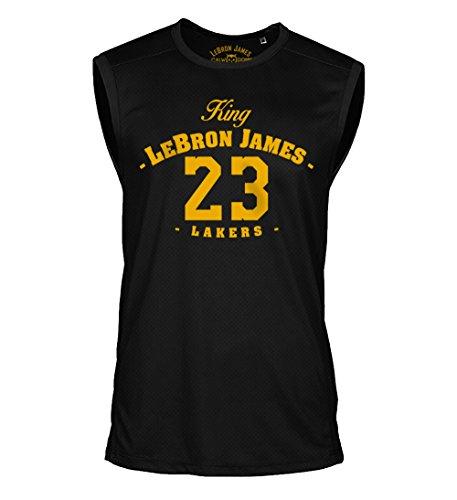 Lebron James Sleeveless Shirt King 23 Ärmellos Lakers Los Angeles Trikot Basketball Jersey Sport (L)