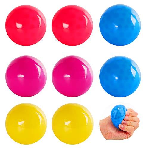 Herefun 8 Pcs Stressballs Stress Spielzeug, 4 Farbe Sticky Globbles Ball, Fluoreszierende Klebrige Wand Ball, Dekompressionsspielzeug für Kinder Adults Geschenk