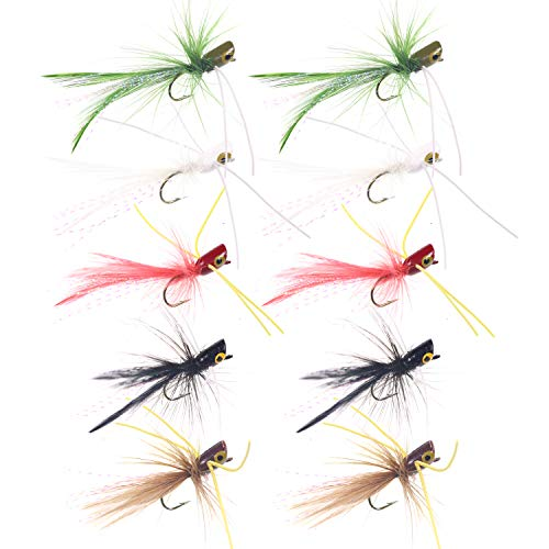 wifreo 10pcs Small Fly Fishing Popper Lures for Panfish Fishing...
