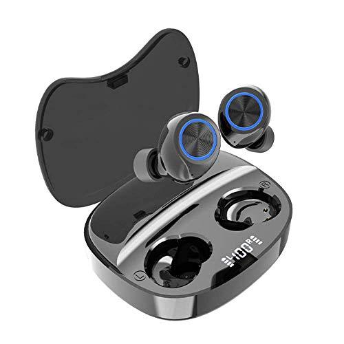 Cuffie Bluetooth Bassi Potenziati, Auricolari Wireless Con custodia Ricarica Veloce, Microfoni Integrati Controllo Touch, Indicatore Batteria, Impermeabilità IPX4