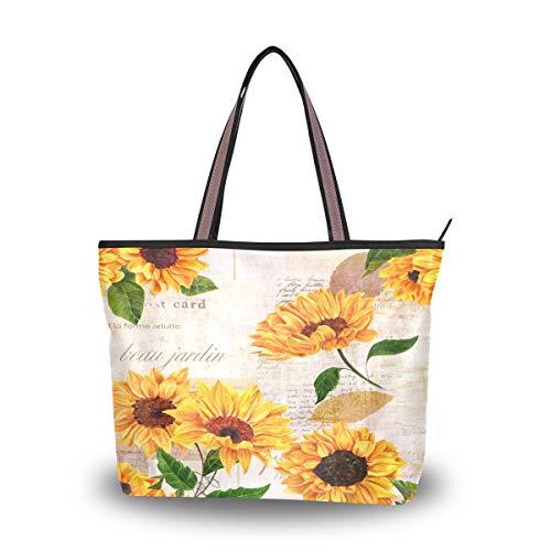 BKEOY große Damen-Handtasche, Schultertasche, Schultertasche, Sonnenblumen, Vintage-Postkarten-Tote, Reißverschluss, Shopper, Organizer, Gepäck, Mehrfarbig - multi - Größe: Large