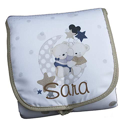 Cambiador Portátil de Bolso Personalizado con el Nombre del Bebé, modelo'Osos Amorosos', Color Beige.