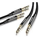 SEBSON Cable de Auxiliar, Cable Jack 3,5mm Macho Macho, Cable de Audio estéreo enchapado en Oro para móvil, Radio del Coche - Trenzado de 1m + 2m