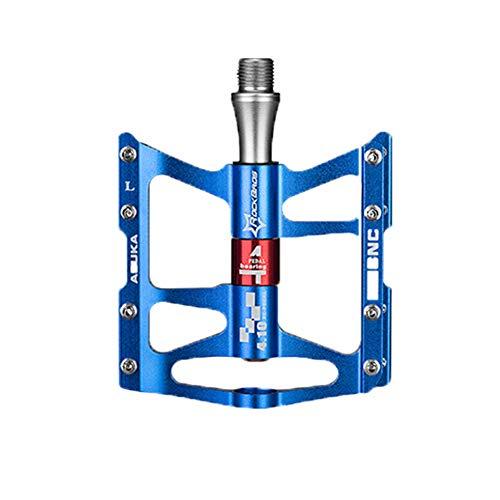 Montagne Pédales De Vélo, Route Aluminium Pédale Trois Palin Légère Pédales De Roulement De Vélo, Adapté pour Le Vélo De Route VTT,Bleu