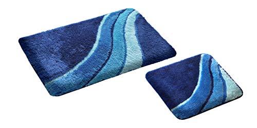 S&S-Shop Badematte Set | Blau | Kiel | 2 teilig | rutschfest | WC-Vorleger 50 x 45 cm | Badvorleger 50 x 90 cm | Badteppich | Teppich | Bad | Badezimmer