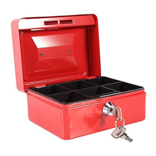 Caja de efectivo, caja de seguridad tipo cerradura con llave Mango suave con caja de seguridad de 2 llaves, para oficina en casa(Small red)
