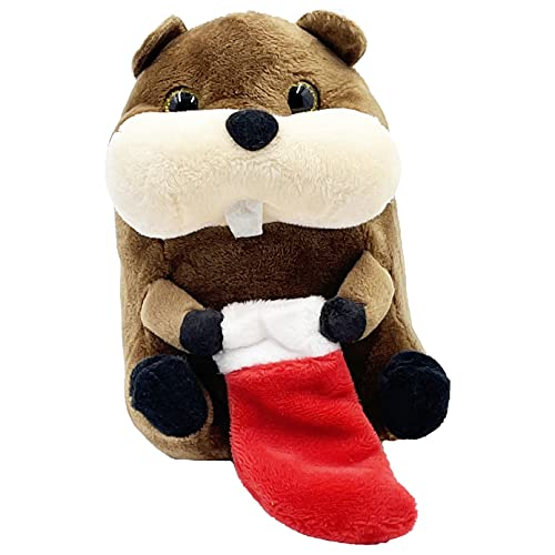Christmas Santa Beaver Plush Belly Buddy, 5' Inch Plush Stuffed, Super Soft and Cuddly Toy, Classroom Decorations, Boys and Girls, 5'
