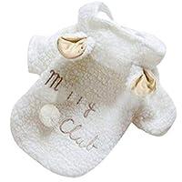 ファッションペットコスチューム小型犬服コートホワイトシープパピーフーディーチワワ冬の暖かいアパレルXSS M LXLホーム-White-L