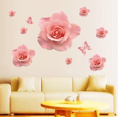 fashionbeautybuy - Adesivo da parete romantico con rose rosa, rimovibile per soggiorno, camera da letto, cucina, in PVC, decorazione per porte e finestre, con rana 3D