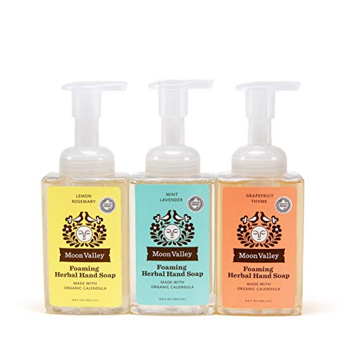 HERBAL FOAMING HAND SOAP - LEMON ROSEMARY, MINT LAVENDER, GRAPEFRUIT THYME by MOON VALLEY ORGANICS (3PACK)
