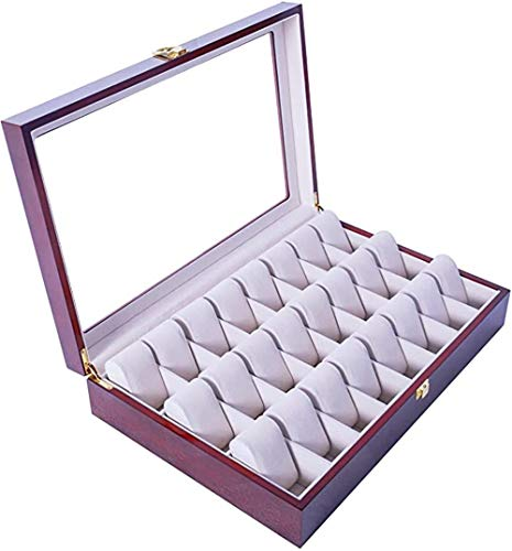 Feibrand Reloj de Madera Caja de Almacenaje para 24 Relojes Rojos