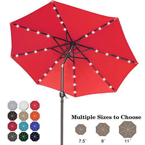 ABCCANOPY 275cm Gartenschirm Sonnenschirm neigbar mit 32 Solar-LED-Lichtern,für Garten,Deck,Schwimmbad,Sandstrand,Rot