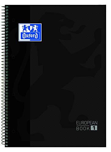 Oxford cuaderno Europeanbook 1, microperforado, tapa extradura, espiral, a4+, cuadrícula 5x5, color negro