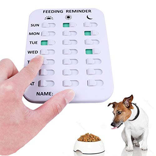Kwispel Pet Feeding Reminder for Dogs Cats - Magnetic Sticker 3 Times A Day Indication Chart Feed Your Pets, Magnets and Double Sided Tape, Did You Feed The Dog Cat Fish Your Kid?