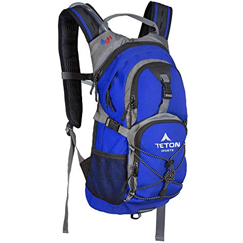 TETON Sports Oasis 1100 Hydration Pack; Free 2-Liter Hydration Bladder; For Backpacking, Hiking, Running, Cycling, and Climbing; Bright Blue , 18.5 ' x 10' x 7