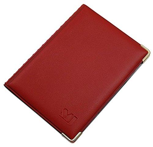Exclusives Ausweis- und Kreditkartenetui mit Schutzecken aus Metall 12 Fächer MJ-Design-Germany Made in EU Designs (Design 2 / Rot)