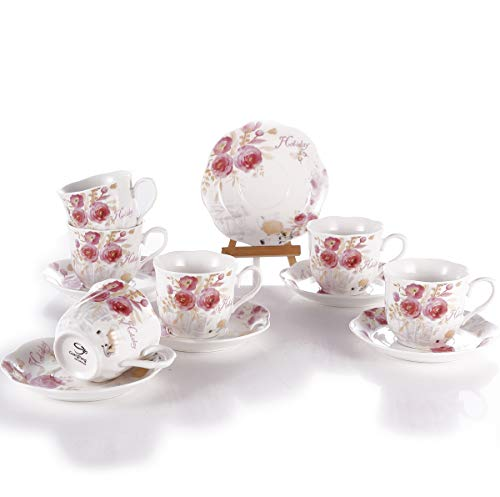 GuangYang Juegos Tazas de Café Porcelana Vintage - 7OZ/220ML Conjuntos de Taza y Platillo Inglesa Patrón de Rosa Flores Set de 6 Tazas de Té/Cappuccino