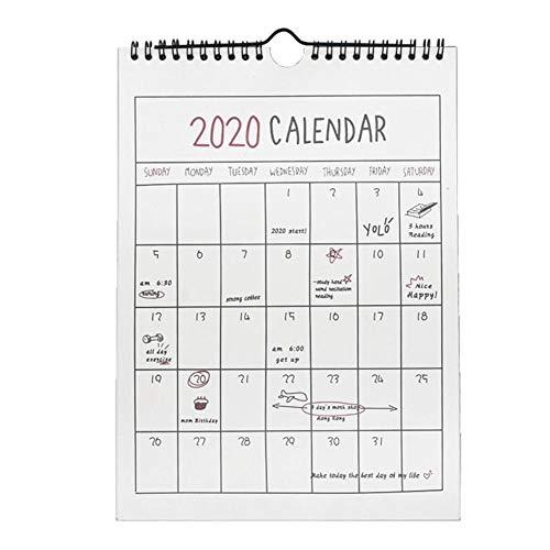 Wandkalender 2020 Jahreskalender, einfacher Stil, Monatskalender, Familie, Haushalt, Papier, Hängedekoration, Terminplaner, Kalender Gitter