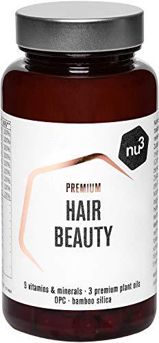 nu3 Premium Hair Beauty 60 Kapseln – Haarvitamine zum Erhalt einer schönen Haarfülle & der Stärke deiner Haare - 9 Vitaminen & Mineralien + 3 hochwertige Pflanzenöle - Unterstütz deine Haargesundheit