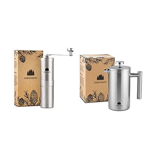 Groenenberg Spar-Pack 4   Kaffeemühle manuell + French Press Edelstahl 600 ml   Handkaffeemühle   Kaffeebereiter