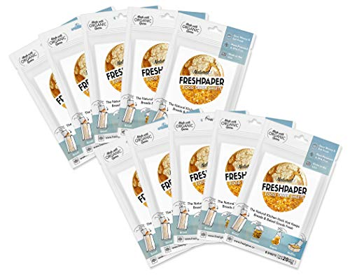 FRESHPAPER Food Saver Sheets for Bread - Keep Baked Goods Fresh, Perfect for Bagels, Muffins, Cookie Storage, Healthy Meal Prep, BPA Free, Made in USA - 10 (8 Sheet) Packs
