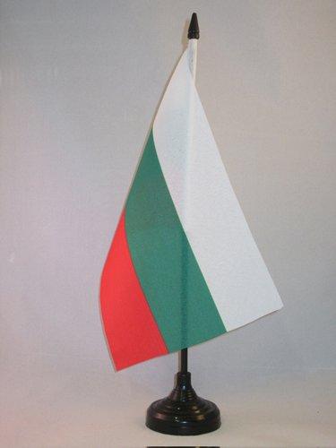 AZ FLAG TISCHFLAGGE BULGARIEN 21x14cm - BULGARISCHE TISCHFAHNE 14 x 21 cm - flaggen