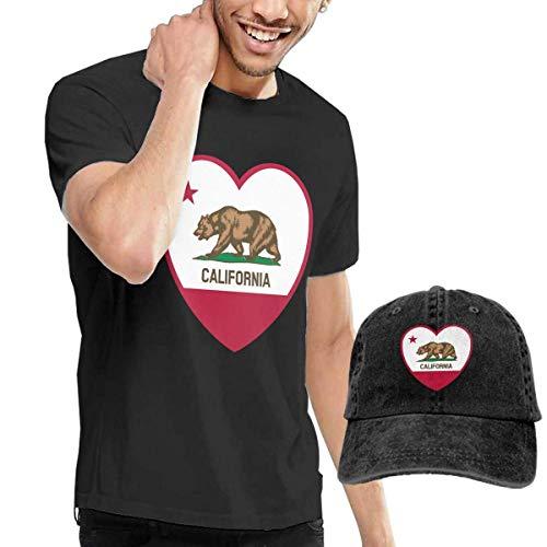 Preisvergleich Produktbild LYZBB Herren Kurzarmshirt California Love T-Shirt Hip Hop Short-Sleeved Round Neck Men's T-Shirt and Hat Set