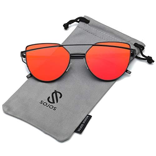 SOJOS SOJOS Katzenauge Metall Rand Rahmen Damen Frau Mode Sonnenbrille Verspiegelt Linse Women Sunglasses SJ1001 mit Schwarz Rahmen/Rot Linse