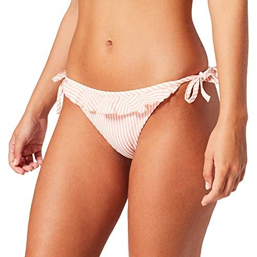 Tommy Hilfiger Cheeky String Side Tie Bikini, Seersucker Coral, Medium para Mujer