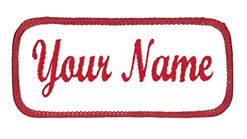 Uniform Work Shirt Patch Customized Embroidered Red Border on White,...