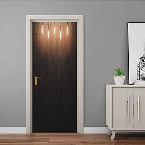 3D Door Stickers Decal Wooden Dark Interior Room with Classical Edison Innovation Removable Self Adhesive Wall Decal Vinyl Removable Home Decoration Dark Brown Yellow and Cinnamon 90x200 CM