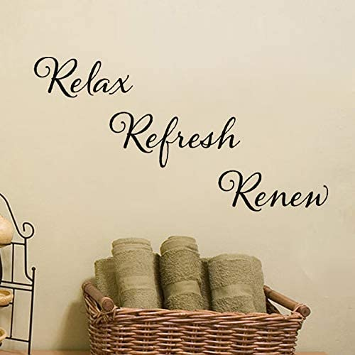 BATTOO Relax Refresh Renew Quote Vinyl Wall Decal Sink Decals Bathroom Wall Art Spa Sticker product image