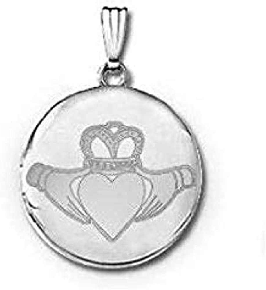 PicturesOnGold.com 14k White Gold Round Celtic Claddagh Locket - 3/4 in X 3/4 in