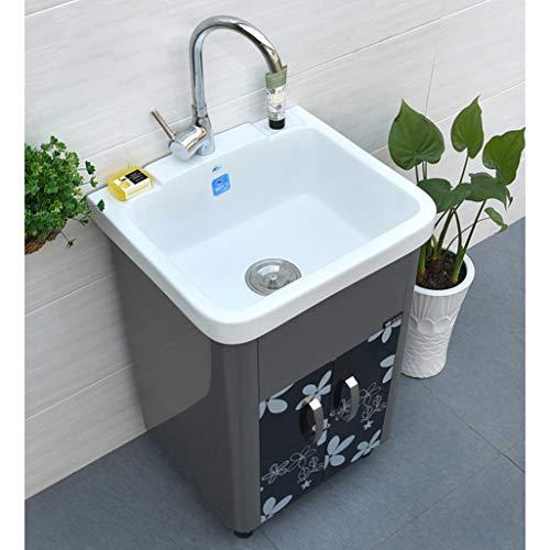 LCF Moderne volledig stalen hoek handwaskast Utility Bad Vanity Sink Combo witte kast moderne staander kast