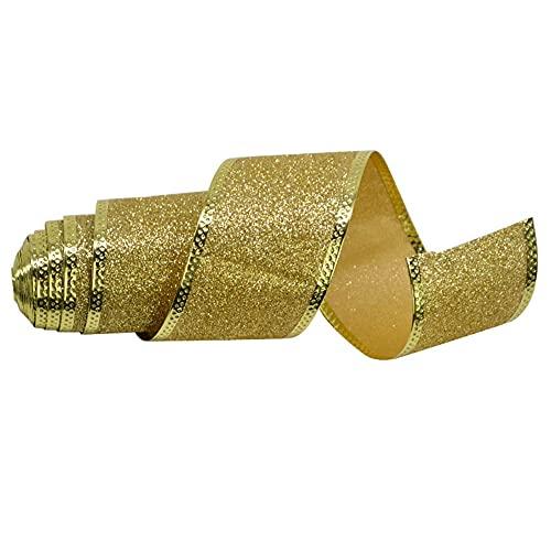 YSSMAO 2m / Rotolo 5 cm Nastro Nastro Nastro Oro Argento Rosso Non Tessuto Scintillio Regalo Nastro Avvolgente per Fai da Te Nastro Nastro Nastro Decorazioni Arco,d'oro