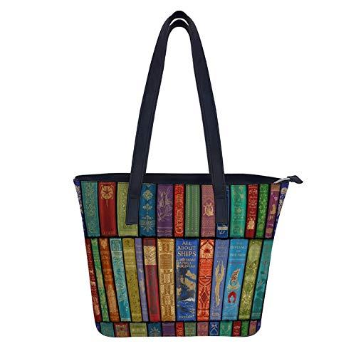 Instant Library Bolsos y bolsos de mano para mujer, de piel sintética, asa superior, bolso de hombro